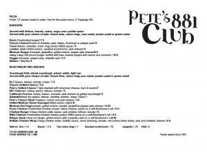 Pete's Menu Page 2