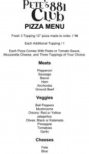 Pete's Pizza Menu